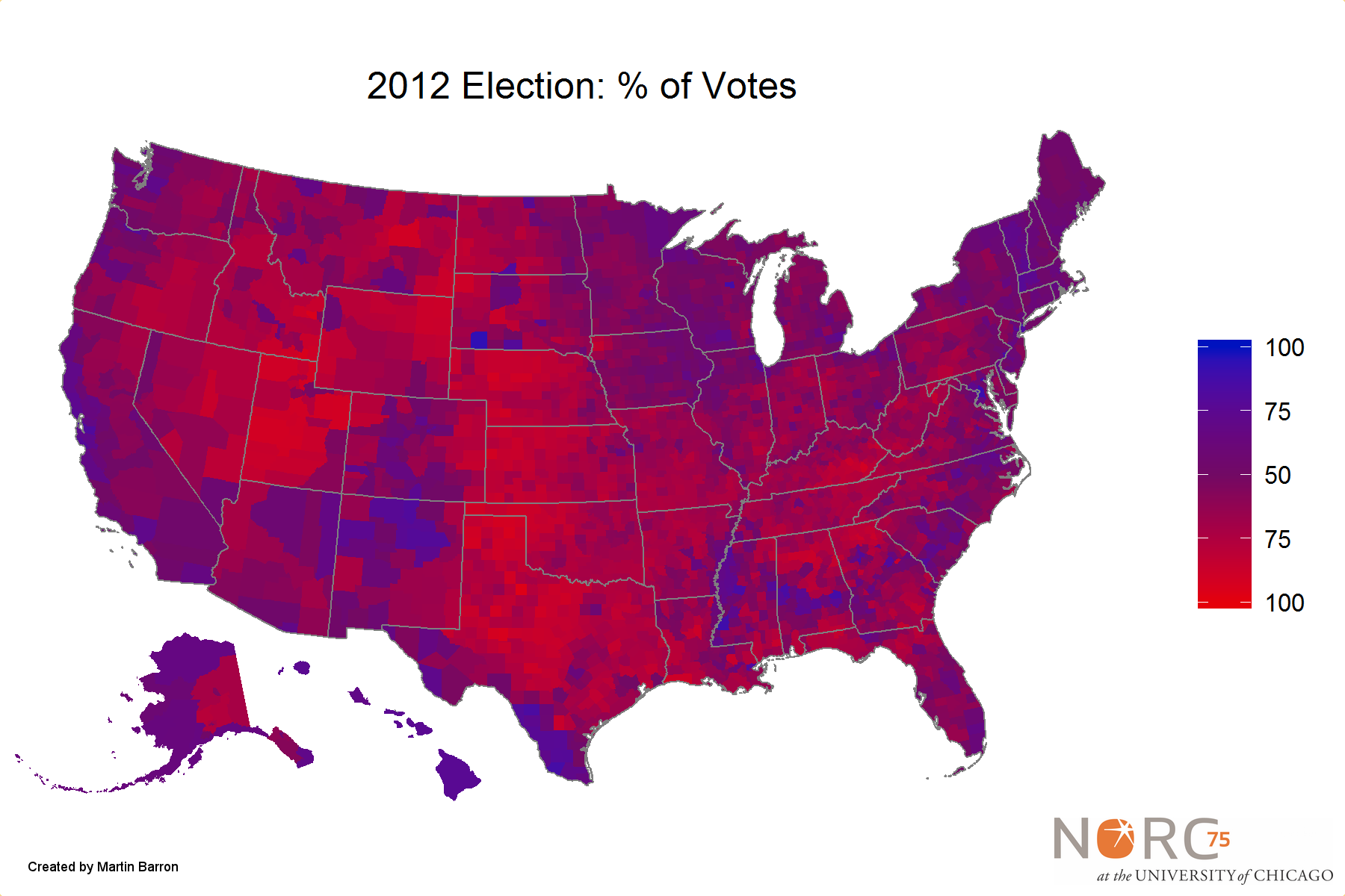 Sparks Post - Us election map by county purple